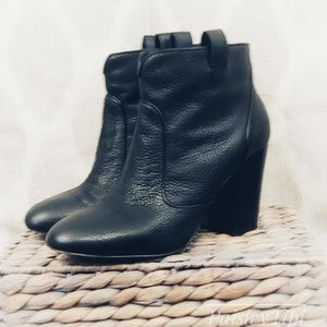 French Connection Black Soft Leather Ankle Boots